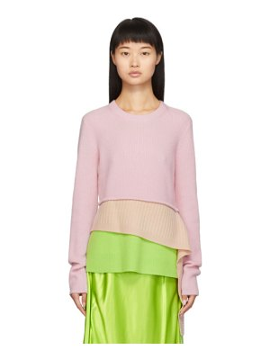 SIES MARJAN pink and green sae tiered sweater