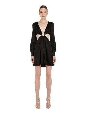 SILVIA ASTORE Washed silk satin dress w/ cut outs