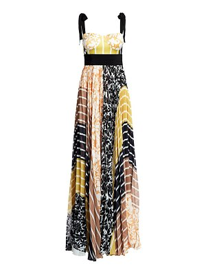 Silvia Tcherassi gemina pleated patchwork bustier maxi dress