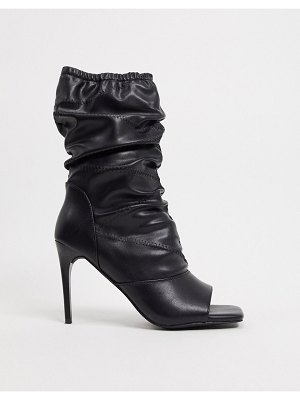 SIMMI Shoes simmi london killy ruched stiletto boots with open toe in black