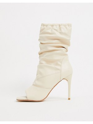 SIMMI Shoes simmi london killy ruched stiletto boots with open toe in white-cream
