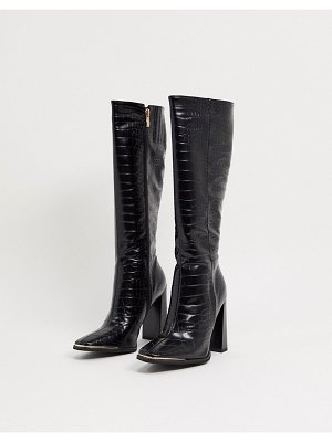 SIMMI Shoes simmi london melisa knee boots in with metal plating in black croc