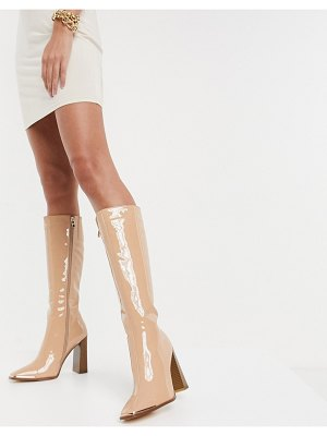 SIMMI Shoes simmi london melisa knee boots with metal plating in beige patent