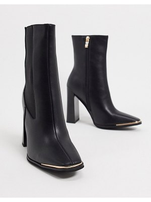 SIMMI Shoes simmi london melisa square-toe chelsea boot with gold plating in black