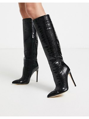 SIMMI Shoes simmi london samia stiletto knee boots in black croc