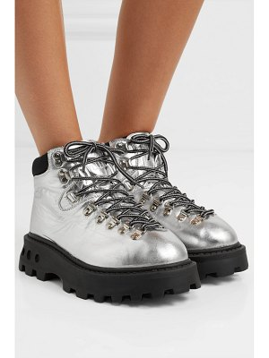 Simon Miller high tracker shell-trimmed metallic leather ankle boots