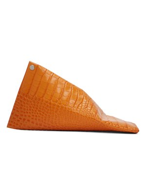 Simon Miller orange croc slug clutch