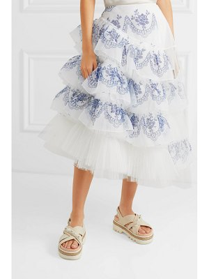 Simone Rocha asymmetric ruffled printed organza and tulle midi skirt