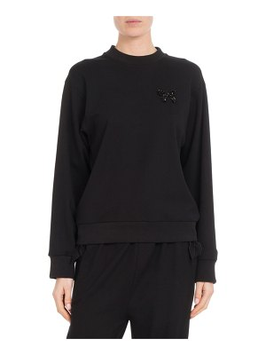 Simone Rocha Crewneck Cashmere Knit Patchwork Beaded Sweater