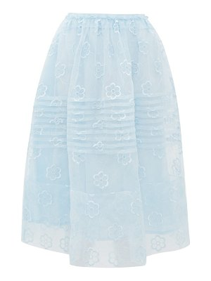 Simone Rocha daisy-embroidered pintucked organza skirt