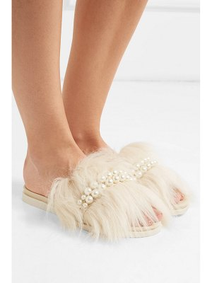 Simone Rocha faux pearl-embellished leather and shearling slides