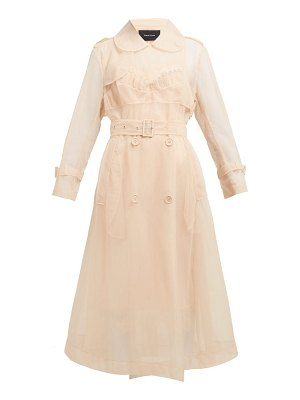 Simone Rocha faux pearl embellished tulle trench coat