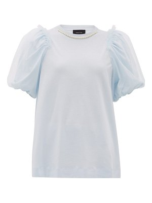 Simone Rocha faux-pearl puff-sleeved cotton t-shirt