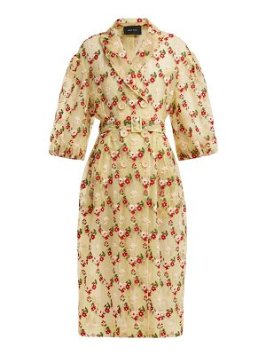Simone Rocha floral embroidered single breasted tulle coat