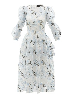Simone Rocha floral-embroidered tiered organza dress