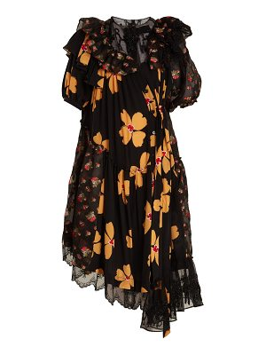 Simone Rocha floral print asymmetric gathered dress