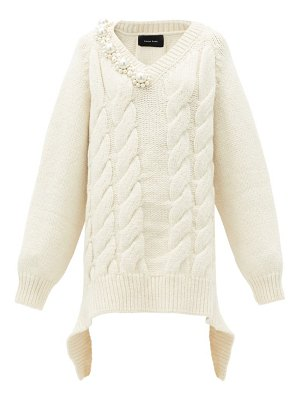 Simone Rocha pearl-embellished oversized cable-knit sweater
