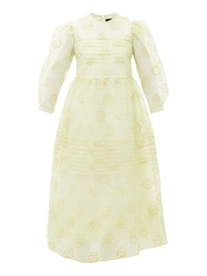Simone Rocha puff-sleeved floral-embroidered organza dress