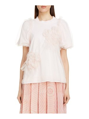 Simone Rocha ruched flower puff sleeve tee