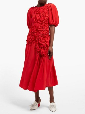 Simone Rocha ruched silk crepe de chine midi dress