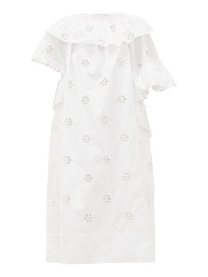 Simone Rocha ruffled broderie-anglaise cotton-blend midi dress