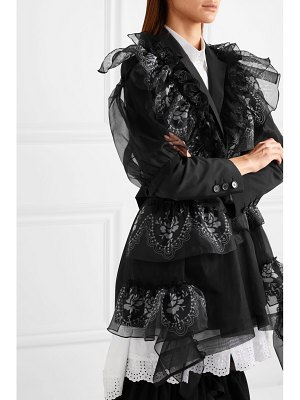 Simone Rocha ruffled printed organza and silk blazer