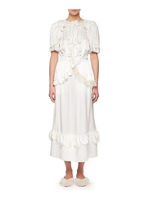 Simone Rocha Ruffled Silk Midi Dress