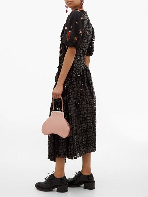 Simone Rocha sequinned floral print crepe midi dress