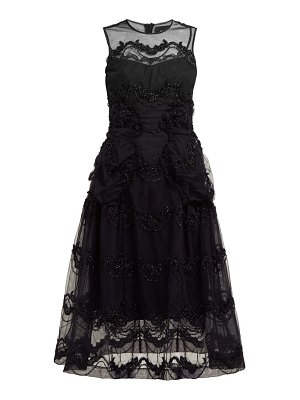 Simone Rocha tinsel embroidered tulle midi dress