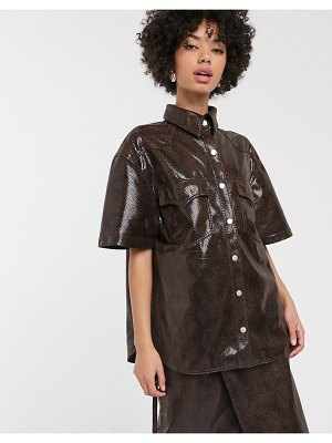Simonett milas faux leather snake print shirt two-piece in brown