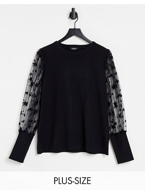 Simply Be sweater with mesh star detail sleeves in black