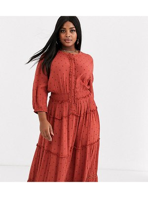 Simply Be tiered maxi dress in rust polka dot-multi