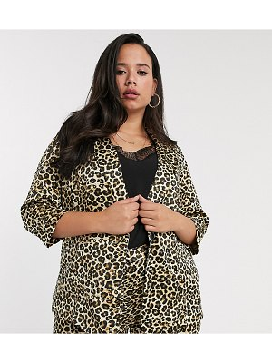 Simply Be two-piece blazer in leopard satin-multi