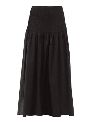 Sir alina pintucked cotton-blend maxi skirt