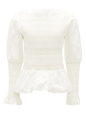 Sir arlo smocked cotton-twill blouse