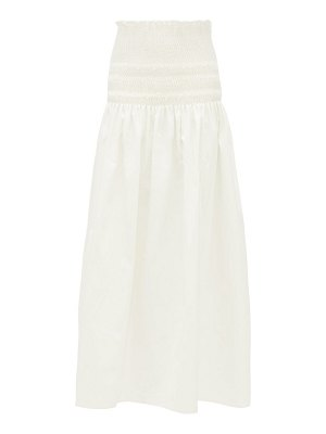 Sir arlo smocked cotton-twill midi skirt