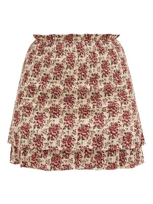 Sir floré floral-jacquard shirred cotton-blend skirt