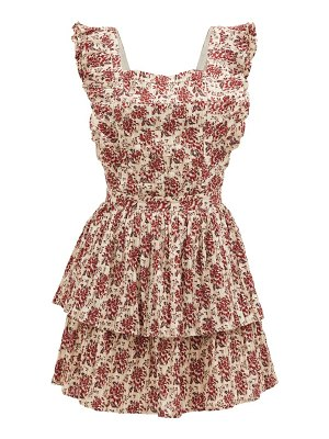 Sir flore floral-print tie-back cotton-blend dress
