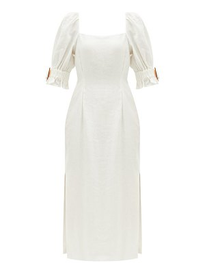 Sir pascale square-neck side-slit linen dress