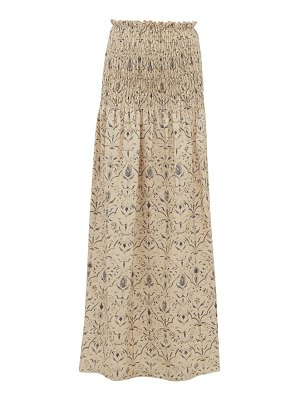 Sir sachi floral print smocked linen canvas maxi skirt