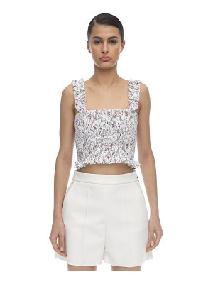 SIR the label Haisley smocked linen cropped top