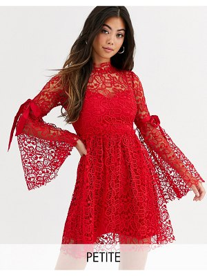 Sisters of the Tribe high neck dress in lace with ribbon sleeve ties-red
