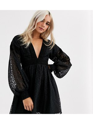 Sisters of the Tribe plunge neck dress with balloon sleeves in dobby spot-black