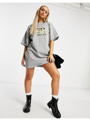 Sixth June t-shirt dress with girls gang graphic-grey