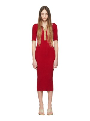 SJYP red knit ribbed collar dress