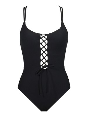 Skinny Dippers jelly beans lace-up one-piece swimsuit