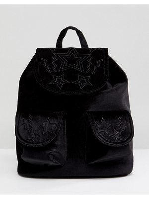 Skinnydip Star Embossed Pocket Velvet Backpack