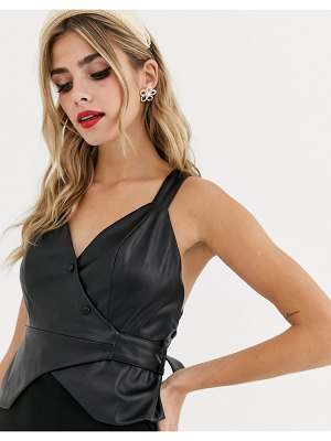Skylar Rose backless structured top in faux leather-black
