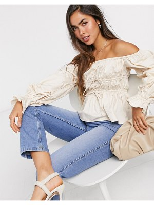 Skylar Rose bardot top with balloon sleeves and tie front detail-beige