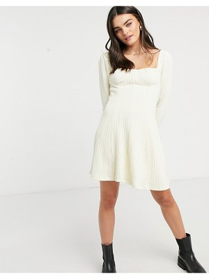 Skylar Rose cable knit skater dress with square neck-cream